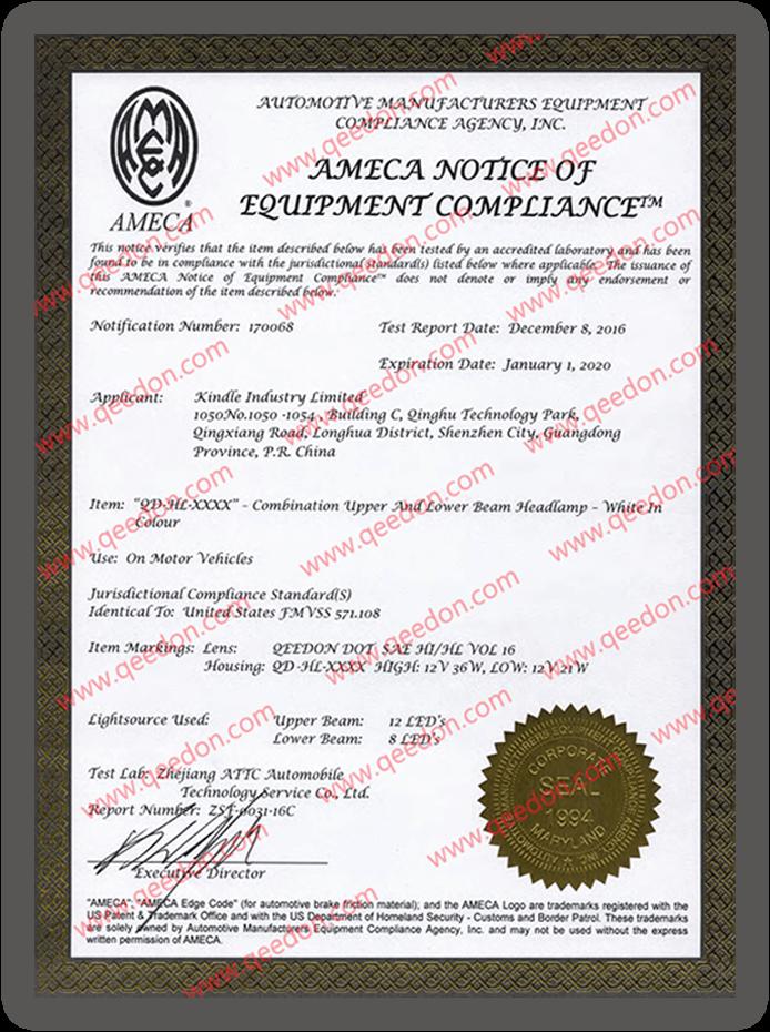 DOT approved car light certificate