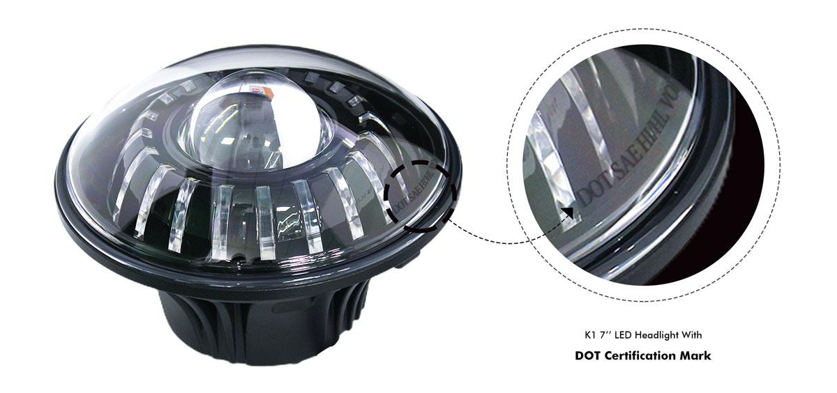 K1 7''LED headlight with DOT certification mark