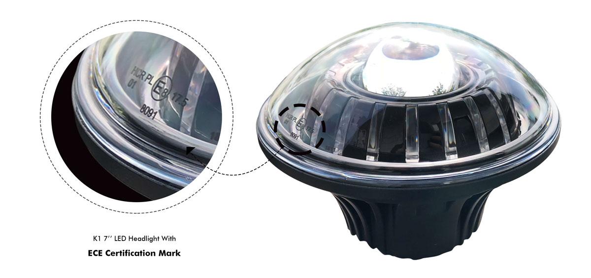 K1 7''LED headlight with ECE certification mark