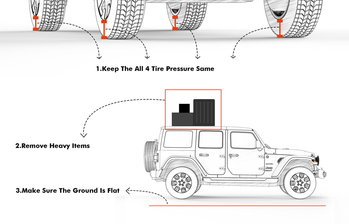 Level your Jeep to increase the accuracy of your headlight adjustment